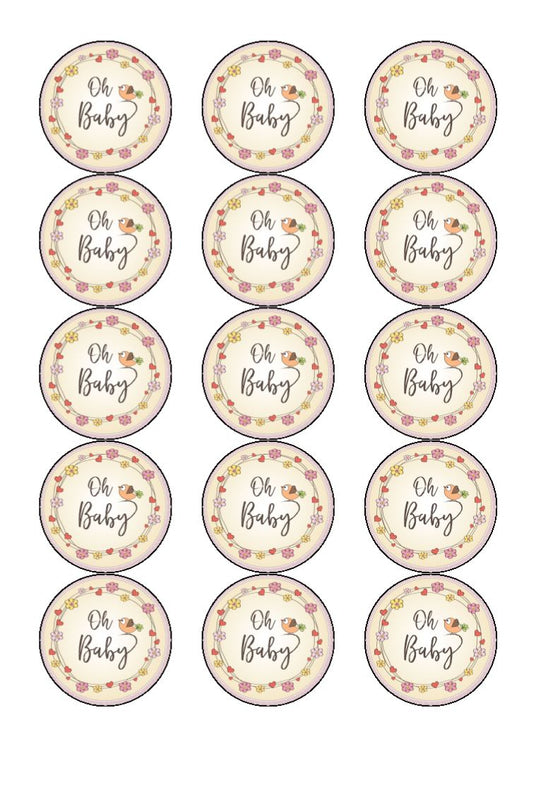 Oh Baby - edible cake/cupcake toppers