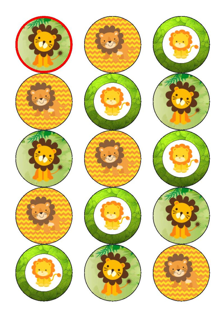Cute Lions - edible cake/cupcake toppers
