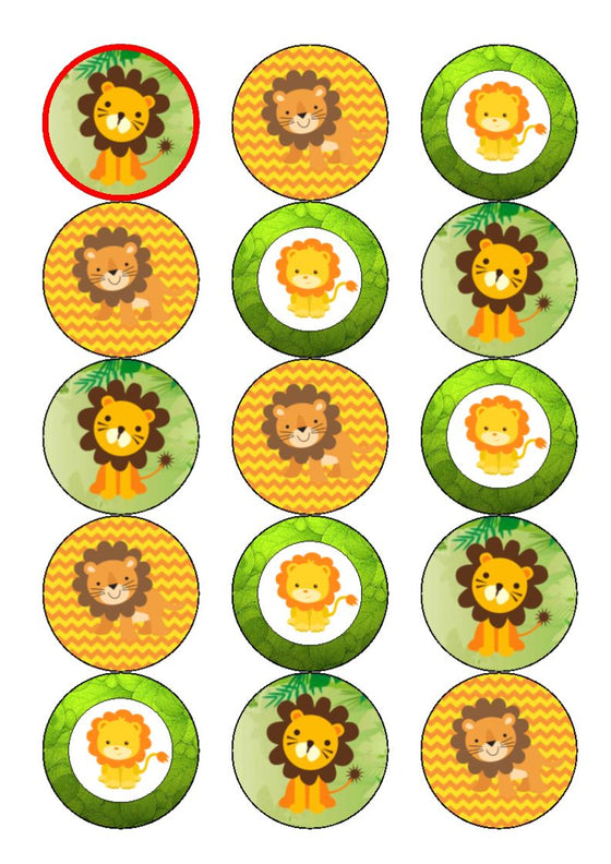 Cute Lions Edible Cake & Cupcake Toppers
