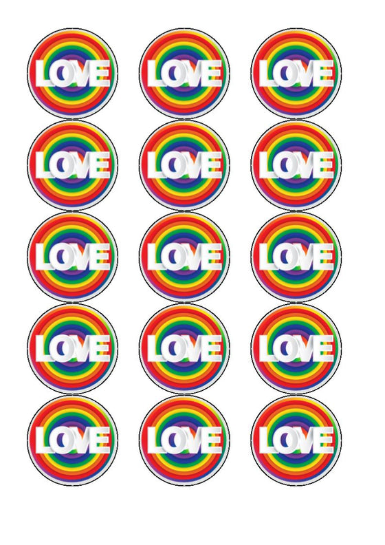 Pride - Design 1 - edible cupcake toppers