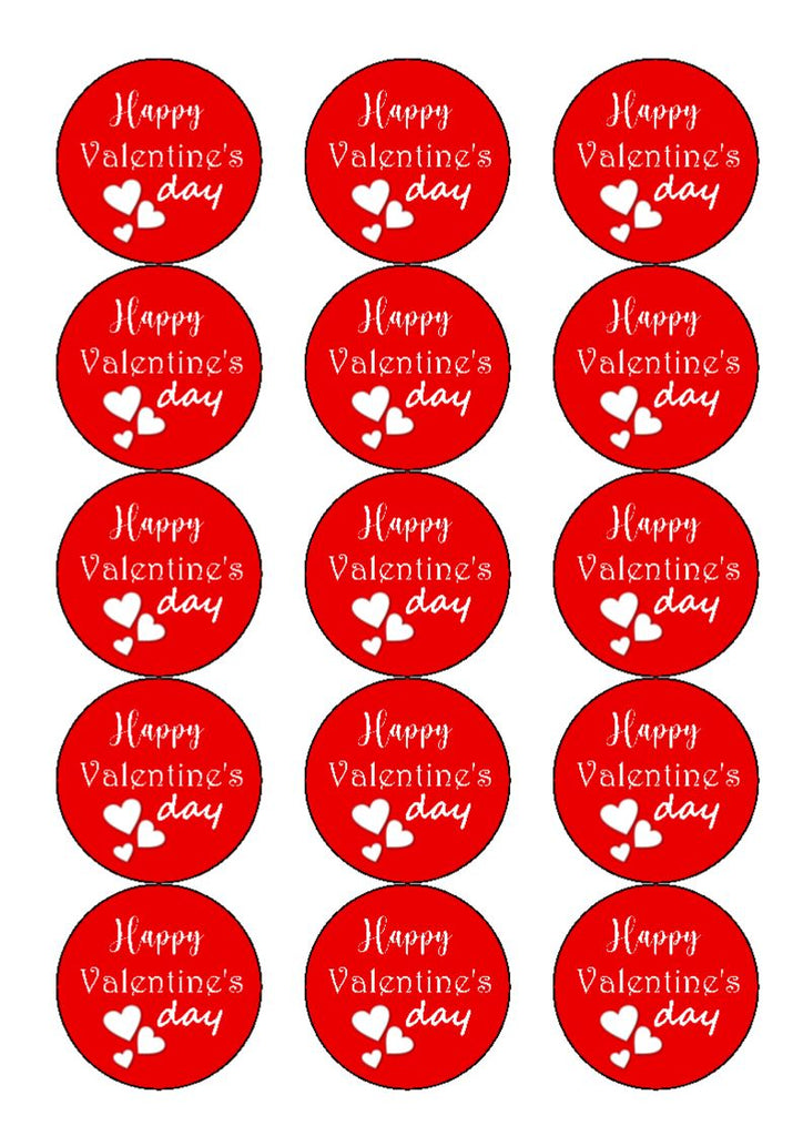 NEW!!  Red Happy Valentine's Day - cupcake toppers