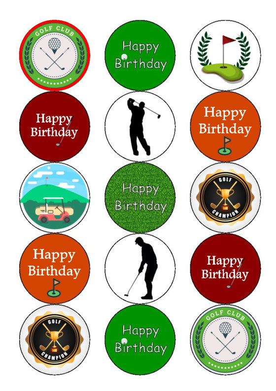 Golf cupcake toppers