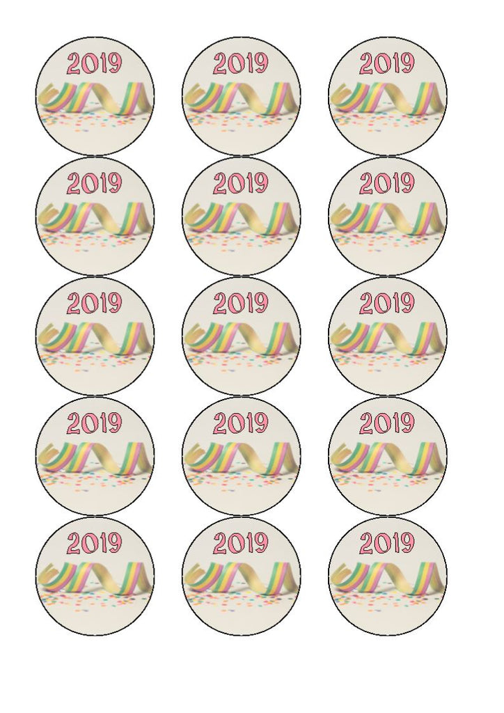 2019 Confetti Style  Cake and Cupcake Toppers