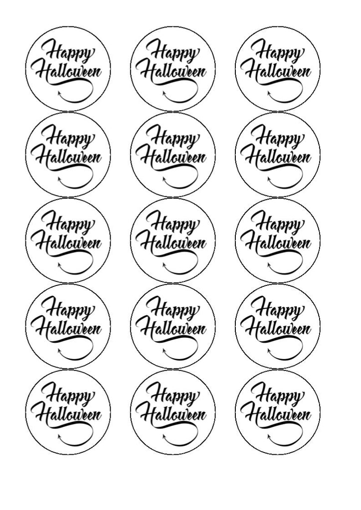 Happy Halloween writing - edible cake/cupcake toppers