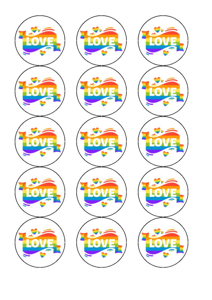 Pride - Design 2 - edible cupcake toppers