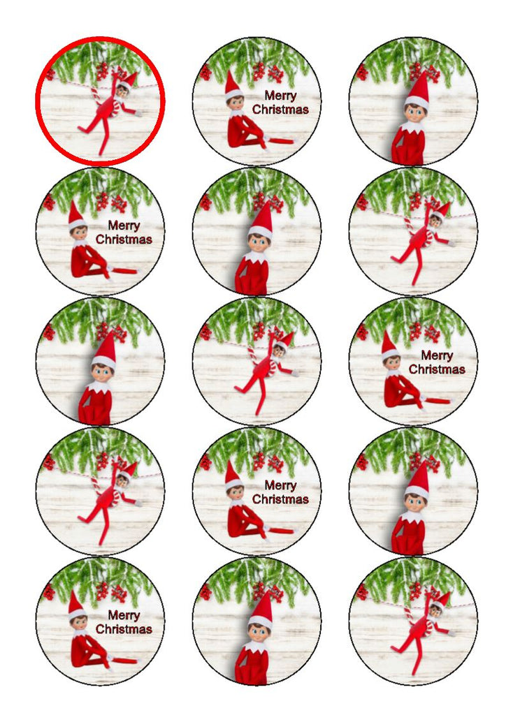 Elf  Christmas - cupcake toppers
