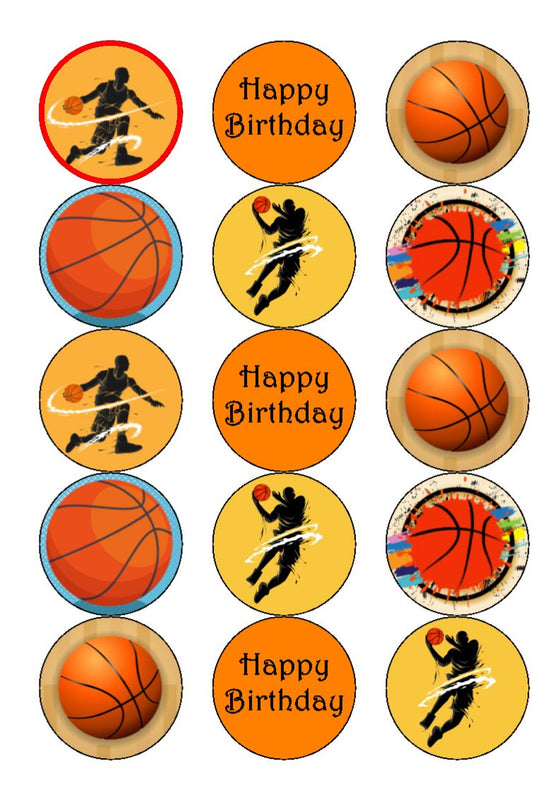 Basketball Mix - edible cake/cupcake toppers
