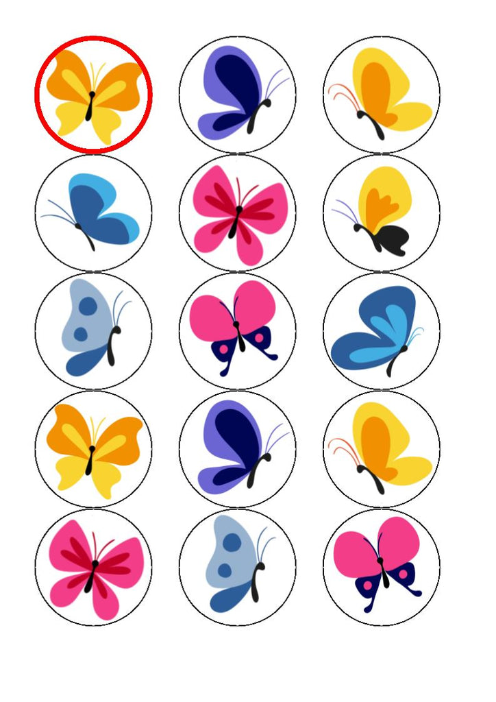 Butterflies (bright) edible cake/cupcake toppers