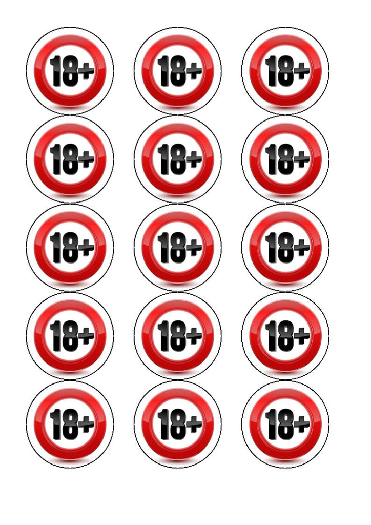 Happy 18th Birthday - 18+ - Edible cake/cupcake toppers