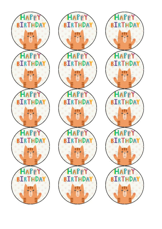 NEW!! Cat Happy Birthday edible cake/cupcake toppers
