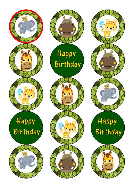 Zoo animals - edible cupcake toppers