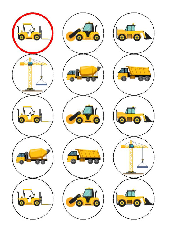 Digger Construction - edible cake/cupcake toppers