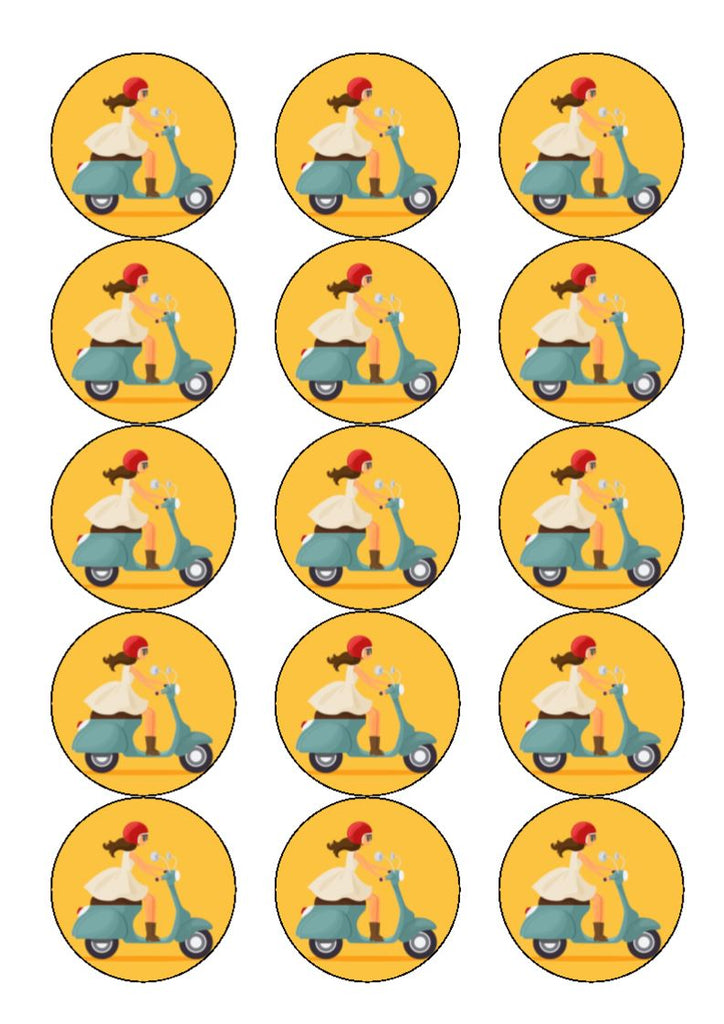 Girl on a Scooter - edible cake/cupcake toppers