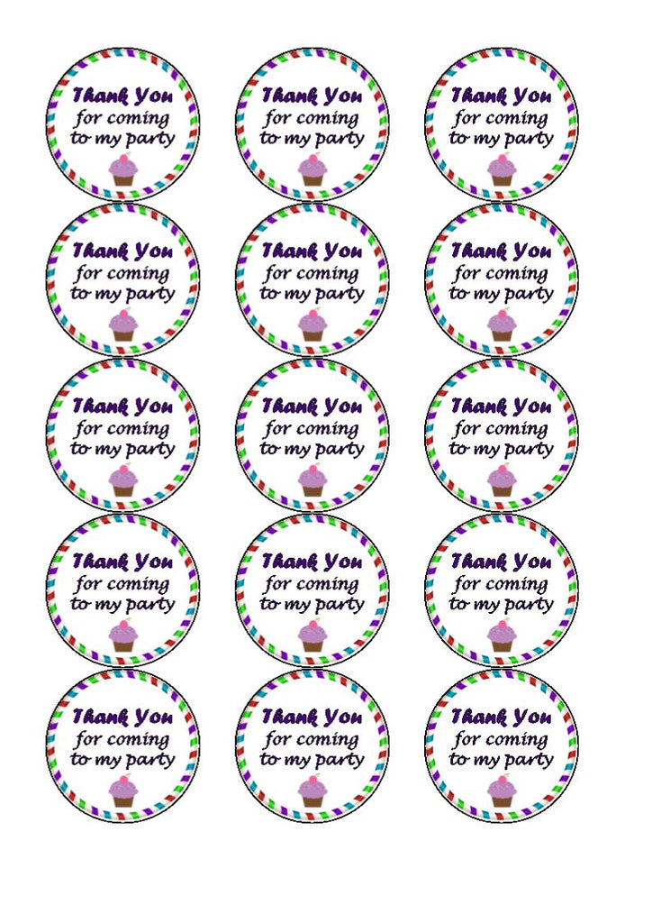 Thank you for coming to my party Edible Cake & Cupcake Toppers