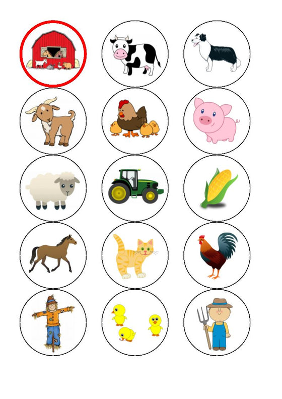 Farmyard Edible Cake & Cupcake Toppers
