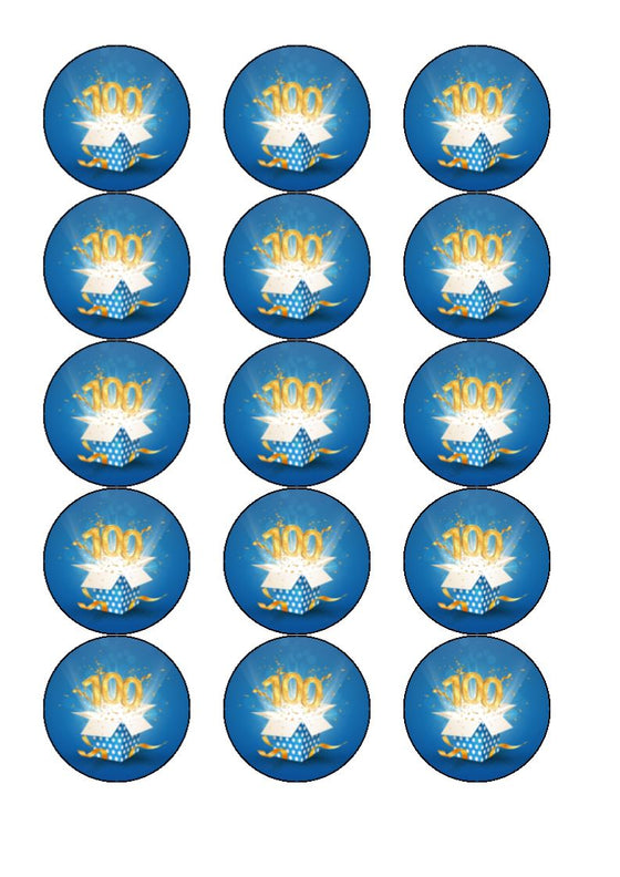 Happy 100th Birthday - Blue - Edible cake/cupcake toppers