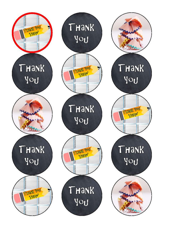 Pencil Thank You Teacher Edible Cupcake Toppers
