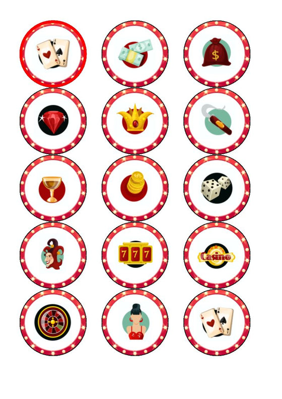 Edible Casino - mix - cupcake toppers
