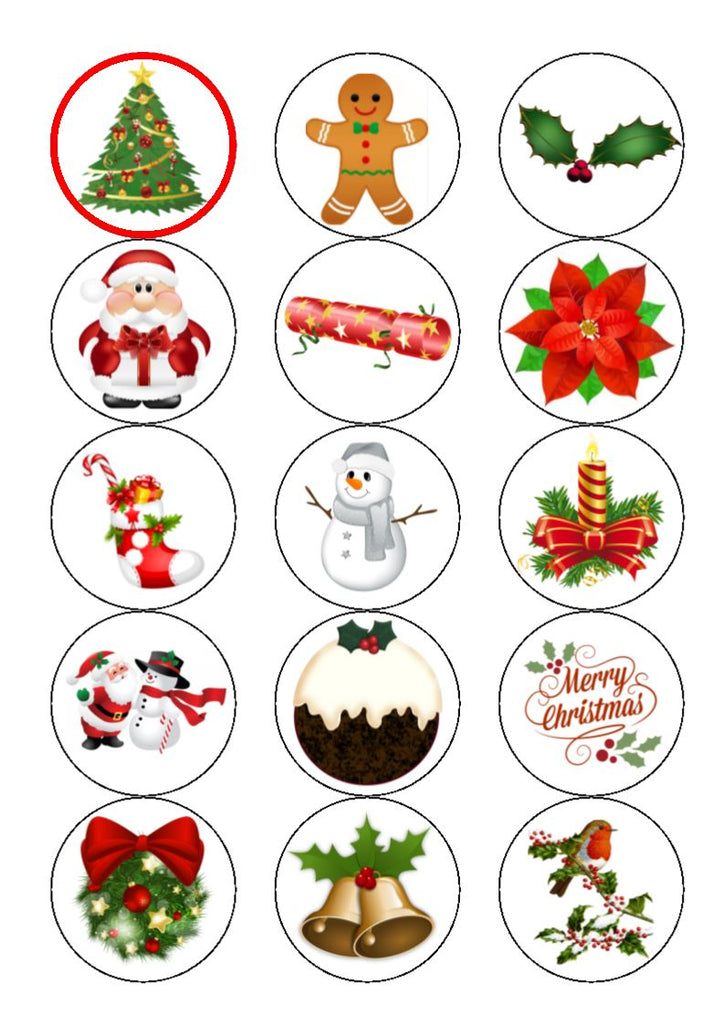 Christmas Mix Edible Cupcake and Cake Toppers