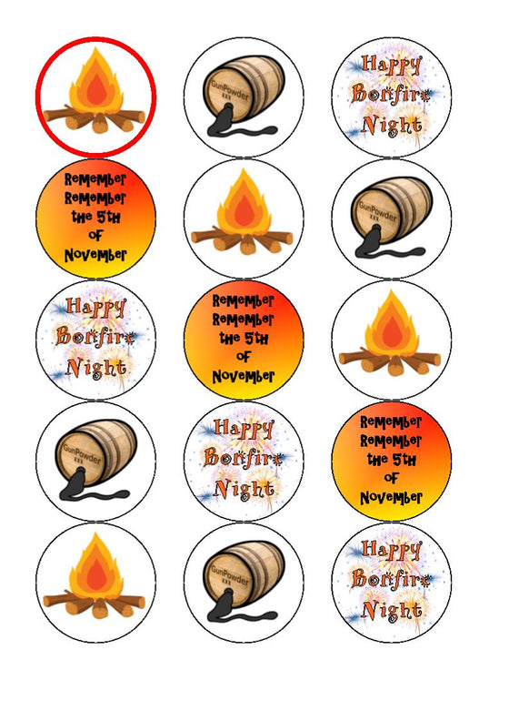 Bonfire Night Edible Cake & Cupcake Toppers