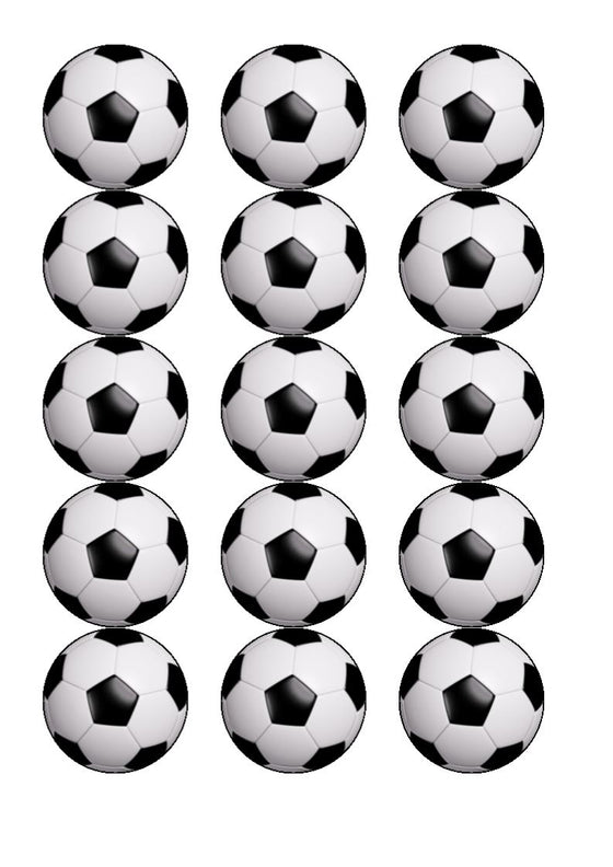 Football - Black and White - edible cake/cupcake toppers