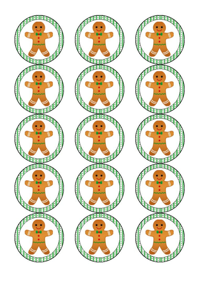Christmas Gingerbread Man Cupcake and Cake Toppers