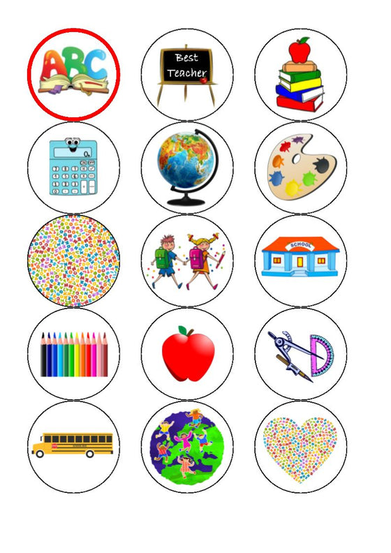 Thank You Teacher Mix Edible Cupcake Toppers