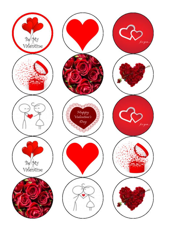 Valentine Mixed Cupcake Toppers