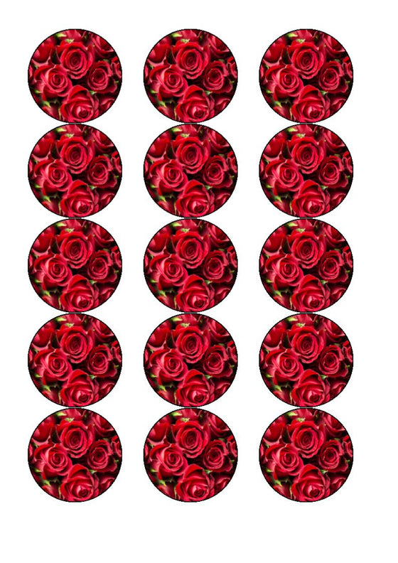 Red Roses Valentine Cake and Cupcake Toppers
