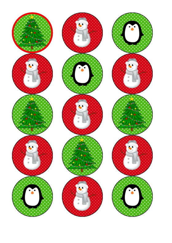 Snowy Mix Edible Cupcake and Cake Toppers