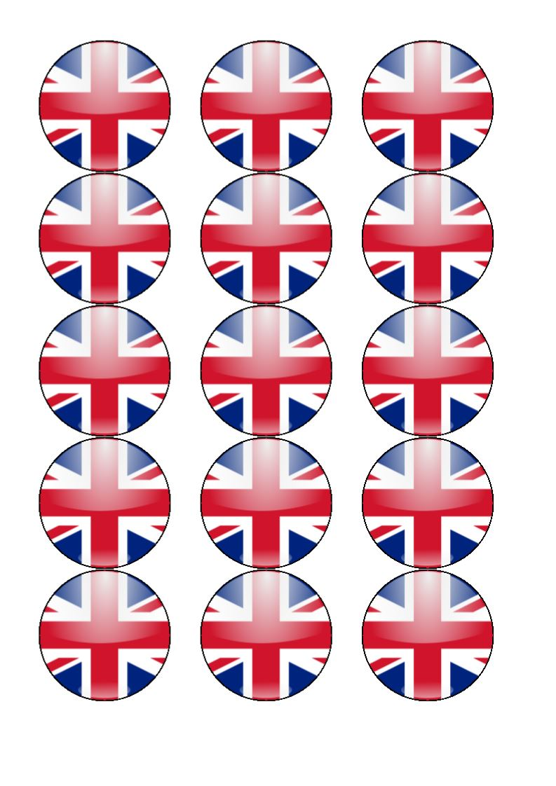 "30 x Union Jack Flag 1.5/"" Edible PRE-CUT Premium Rice Paper Cup Cake Toppers"