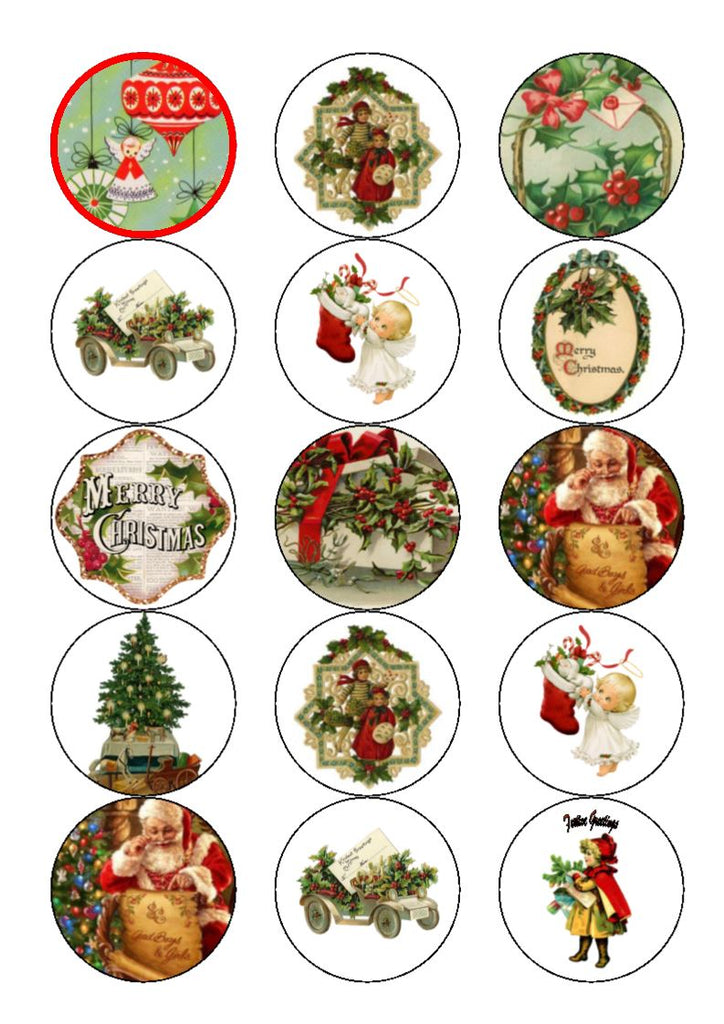 Vintage Christmas Cupcake and Cake Toppers