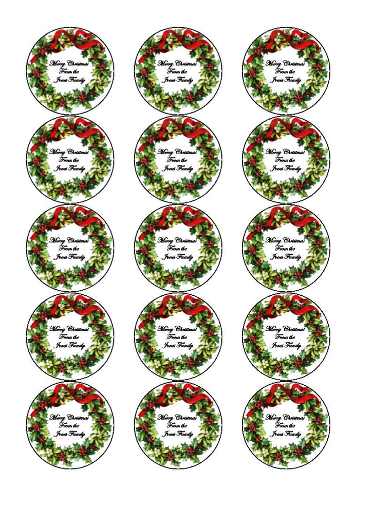 Personalised Christmas Wreath Cupcake and Cake Toppers