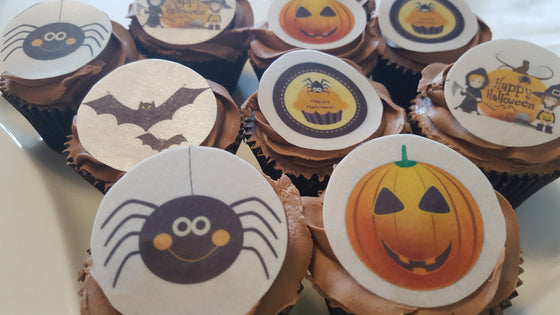 Halloween - Design 1 -  edible cake/cupcake toppers