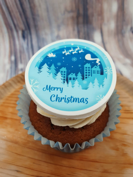 Blue Christmas Cupcake/Cake Toppers