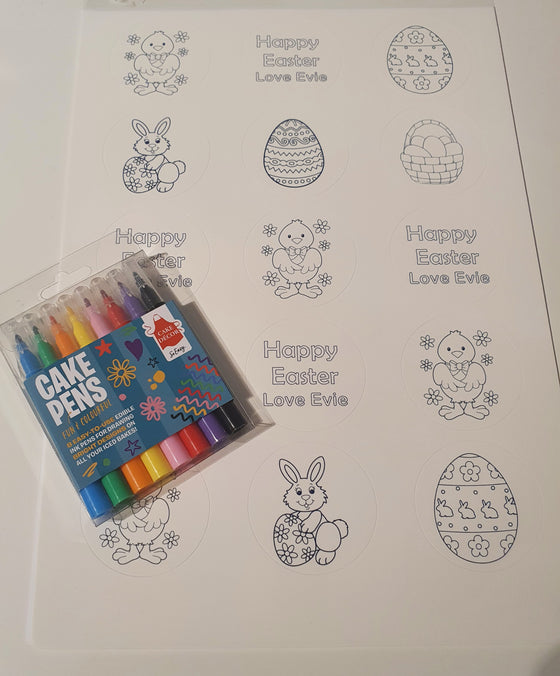 NEW!! Colour in your own cupcake toppers - PERSONALISED (edible pens not included)