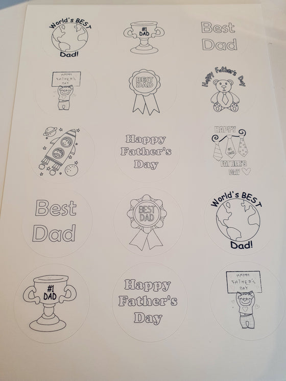 Father's Day - Colour In - edible cake/cupcake toppers