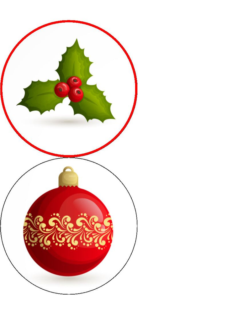 Christmas Decorations Cupcake/Cake Toppers (matching stickers available)