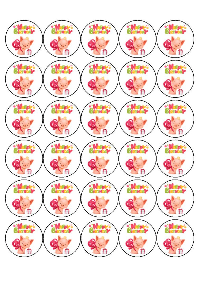 Happy Birthday - Piglet - Edible cake/cupcake toppers