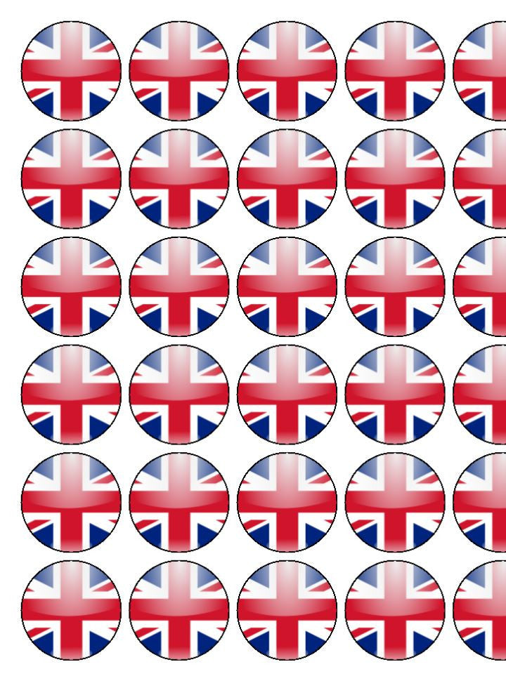 Union Jack Edible Cake & Cupcake Toppers