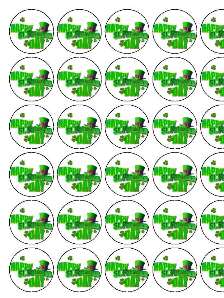 St Patrick's Day Happy Edible Cake & Cupcake Toppers