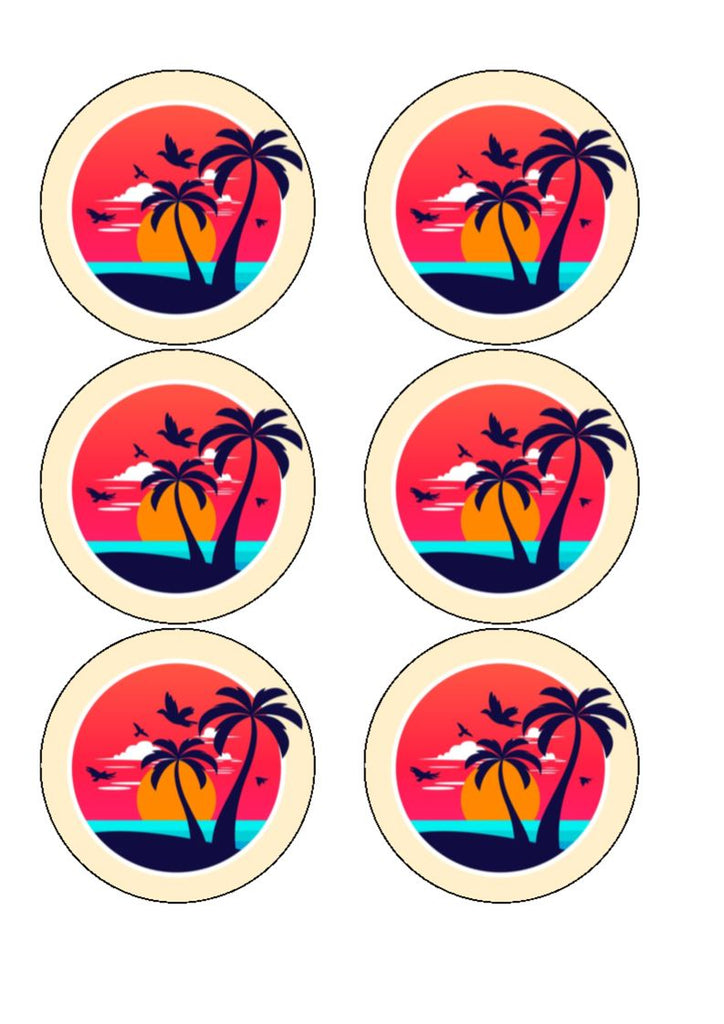 Drink/Cocktail Toppers - Beach Sunset
