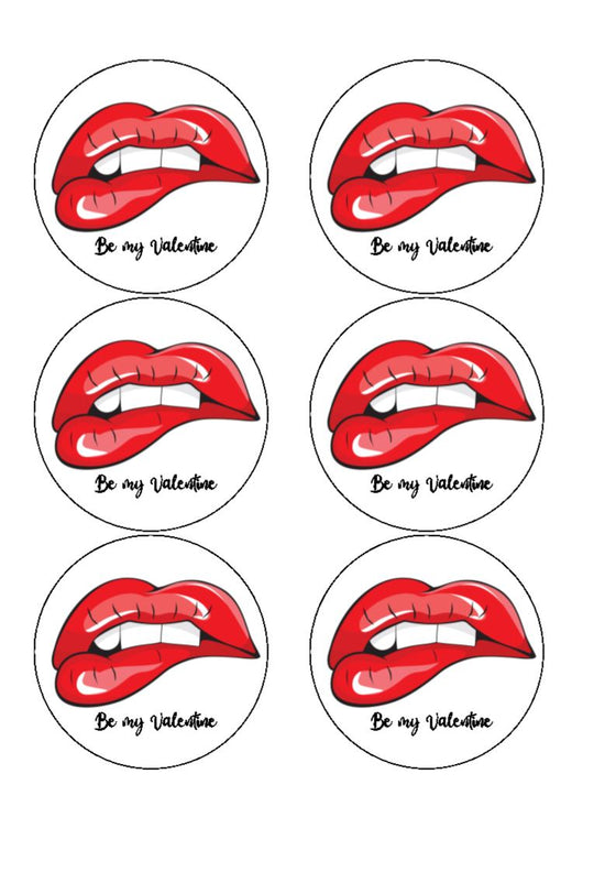 Edible Drink/Cocktail Toppers - Sexy Lips (Wording can be added, see example)