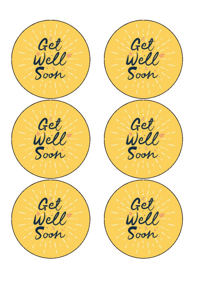 Get Well Soon - Design 8 - Edible Cake/Cupcake Toppers