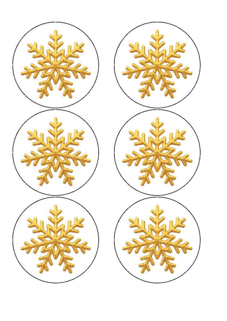 Drink/Cocktail Toppers - Christmas gold snowflake