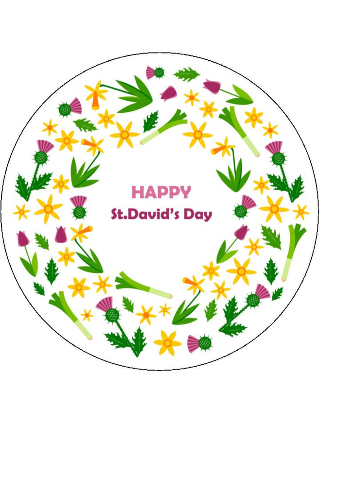St David's Day Bright edible cake & cupcake toppers