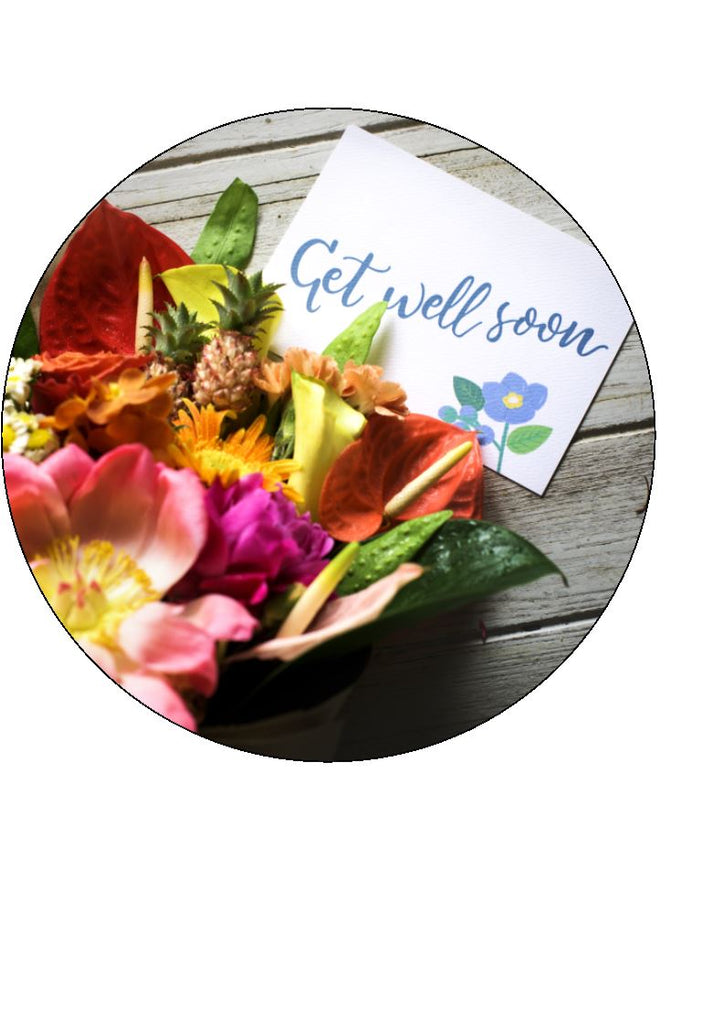 Get Well Soon - Design 6 - Edible Cake/Cupcake Toppers