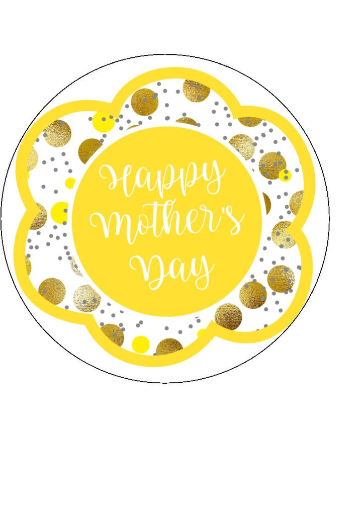 Mother's day edible cake/cupcake toppers. Design by Big Mabel -  Yellow