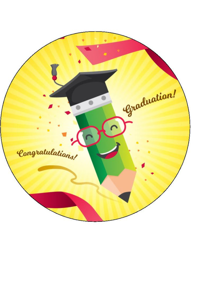 Pencil Design - Graduation - Edible Cake & Cupcake Toppers