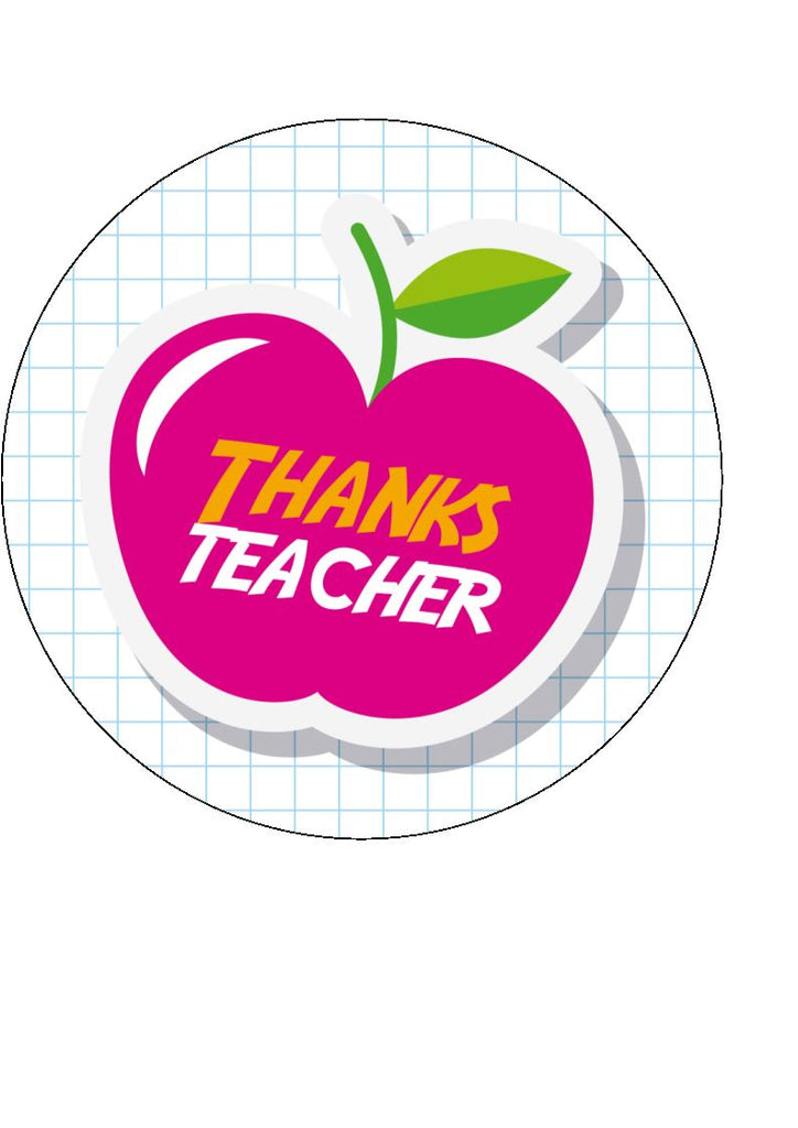 Thank you teacher - design 1 - edible cake/cupcake toppers